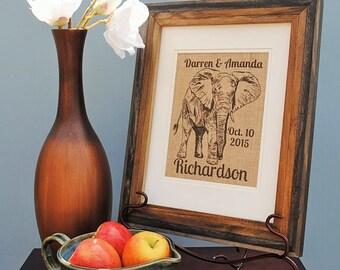 Elephant Print - Personalized Wedding Gift - Burlap Print - Burlap Wedding Gift - Burlap Monogram Print - Burlap Wall Art  - Engagement Gift
