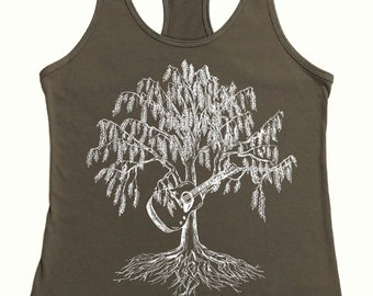 Guitar Tank Tops - Warm Grey Tank Tops for Women - Funny Tanks - Yoga Tanks - Exercise Top - Guitar Tank - Graphic Tank Top Nature Inspired