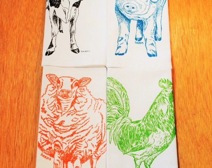 Cotton Dinner Napkins - Barnyard Animals Screen Printed Napkins - Washable and Reusable - Cute Wedding Shower Gift