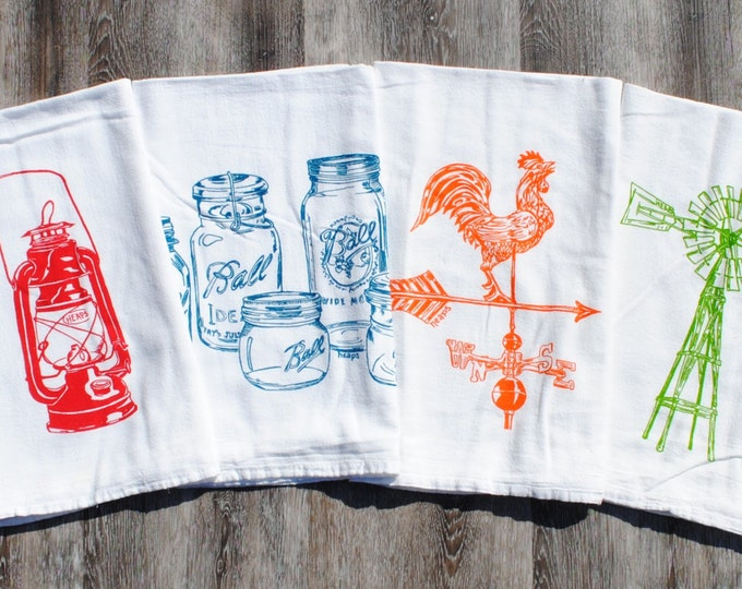 Tea Towels - Set of 4 - Screen Printed Flour Sack Towels - Rooster Weathervane Windmill Mason Jars Oil Lantern - Rustic Country Cottage