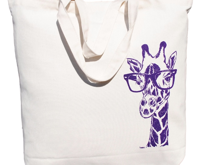 Cotton Tote Bag - Screen Printed Oversized Reusable Grocery Bag - Canvas Shopper Tote - Giraffe with Glasses
