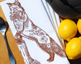 Fox Napkins - Cotton Napkins -  Fabric Napkins - Screen Printed Table Linens  - Unique House Warming Gifts or Wedding Gifts