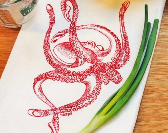 Red Octopus Kitchen Tea Towel - Flour Sack - Nautical Beach Sea Ocean Theme - Dish Hand Cup Towel
