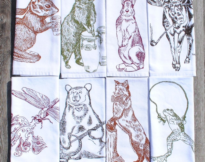 Wildlife Cotton Napkins - Multi Color Screen Printed Napkin Set of 8 - Whimsical Wildlife Animals - Wilderness Table Accessories