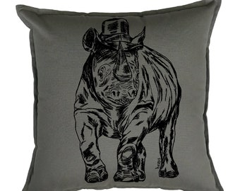 Accent Pillow Covers 20x20 - Animal Pillows - African Decor - African Pillows - Gifts for Her - Living Room Pillows -  Funny Pillows - Rhino