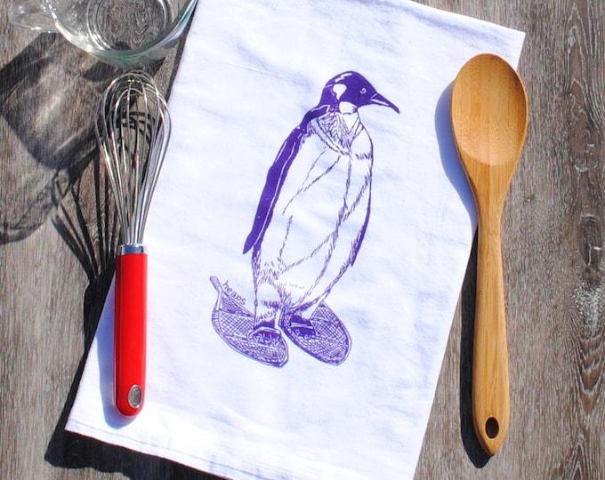 Winter Dish Towel - Screen Printed Flour Sack Tea Towel - Purple Pengiun Kitchen Towel - Arctic Animals - Christmas Gift - Christmas Linens