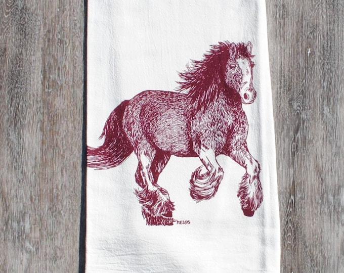 Burgundy Clydesdale Horse Dish Tea Towel - Screen Printed Flour Sack Towel - Eco Friendly Handmade - Wedding Registry Gift