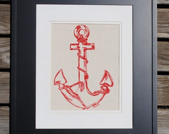 Nautical Kitchen Wall Art - Cotton Canvas Print - Red Anchor Screen Print - Unique Wedding Gift for Couple