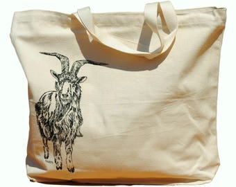 Oversized Canvas Tote Bag - Screen Printed Bag - Goat Tote Bag - Cotton Handbag Animal Bag - Wedding Mothers Day Anniversary Gift