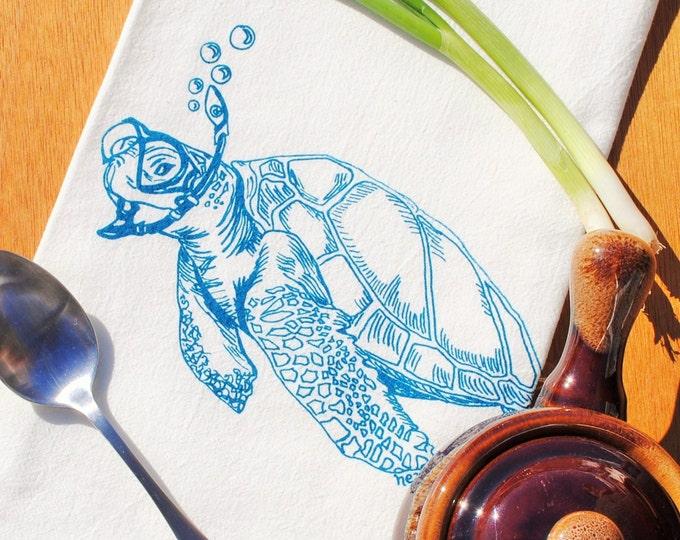 Kitchen Towel - Screen Printed Sea Turtle Tea Towel - Tea Towel - Tea Towels Flour Sack - Hand Towel - Nautical Towel