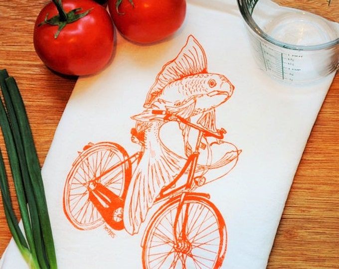 Kitchen Towel - Flour Sack Towel Screen Printed Cotton - Eco Friendly Handmade Tea Towel - Orange Fish on a Bicycle - Hand Towel Dish Towel