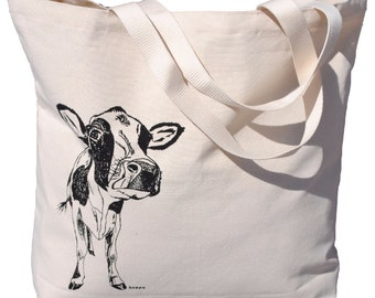 Black Cow Canvas Tote Bag - Screen Printed Cotton Market Tote Bag -Farm Animals - Shoulder Bag Bridal Shower Gift - Barnyard Theme