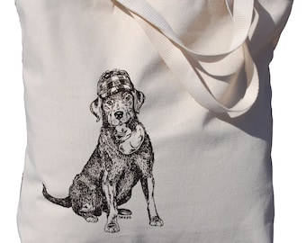 Labrador Retriever Screen Printed Cotton Tote Bag - Oversized Large Tote Bag Great for Wedding Gifts - Fabric Bags - Dog Gift