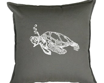 Accent Pillow Covers 20x20 - Gift for Her - Nautical Pillow - Beach Pillows - Square Pillow - Throw Pillow - Screen Print Pillows - Turtle