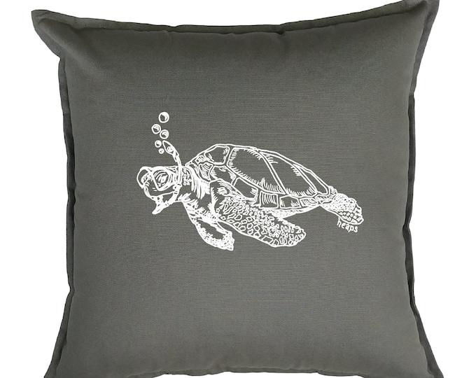 Accent Pillow Covers 20x20 - Nautical Pillow - Beach Pillows - Square Pillow - Throw Pillow - Screen Print Pillows - Gray Sofa Pillow Turtle