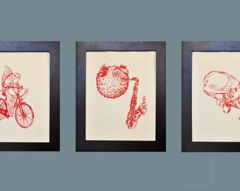 Whimsical Wall Art Print - Red Nautical Wall Art - Sea Life Artwork - Fish Art Prints - Wedding Shower Gift Mothers Day Gift Idea