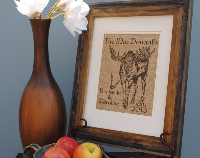 Personalized Housewarming Gift - Personalized Wedding Gift - Gift Ideas for Bridesmaids - Gift for Newlyweds - Last Name Wall Art - Moose