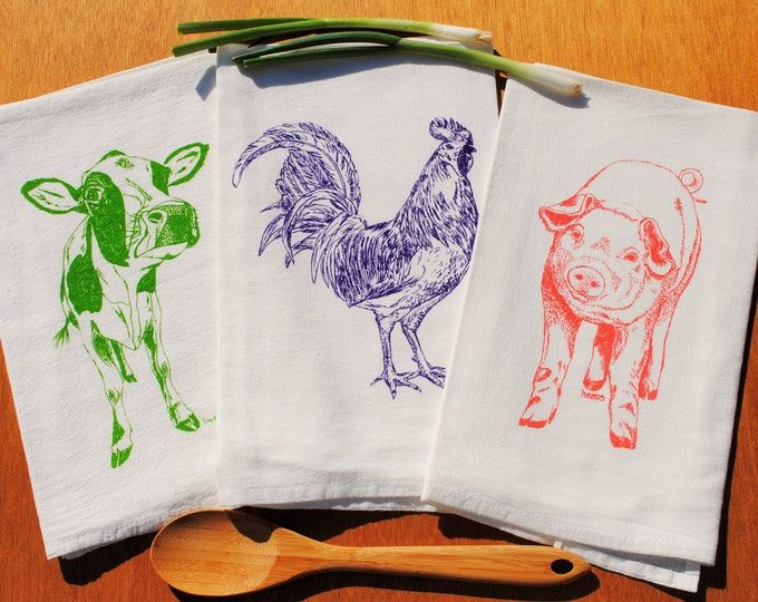 Tea Towel Set of 3 - Flour Sack Tea Towel - Screen Printed Cow Rooster Pig - Absorbent Towels for Dishes