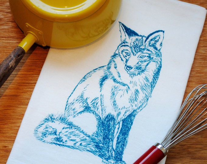 Teal Fox Flour Sack Tea Towel - Screen Printed Cotton - Woodland Animal Theme - Perfect Towel for Dishes - Great Gift Idea