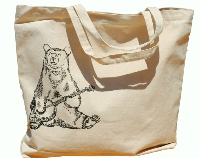 Banjo Bear Cotton Tote Bag - Canvas Tote - Bridesmaid Totes - Nautical Wedding Gift - Nautical Wedding - Beach Destination Wedding Gift Bag