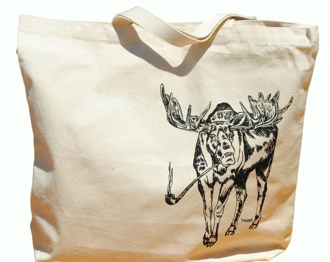 Animal Tote Bag - Moose Canvas Tote Bag - Reusable Shopping Bag - Beach Tote - Large Beach Bag - Beach Accessories - Gift Ideas for Mom