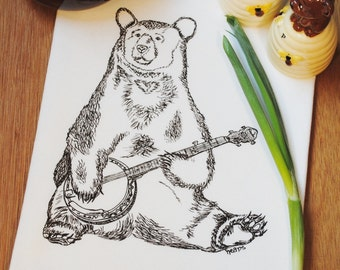 Tea Towel - Flour Sack Towel - Towel for Dishes - Screen Printed Dark Brown Bear Playing Banjo - Funny Kitchen Towel - Musician
