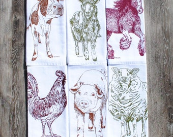 Farm Animals Cotton Napkins - Screen Printed Cloth Napkin Set of 6 - Cloth Napkins for Kids - Reusable - Cow Goat Horse Pig Rooster Sheep