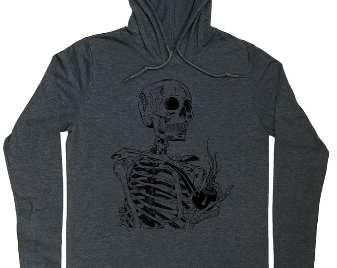 Mens Hoodies - Pipe Smoker Hoodie - Skeleton Hoodie - Pipe Smoker Gift - Skeleton with Pipe - Hoody for Men - Funny Hoodie - Graphic Hoodies