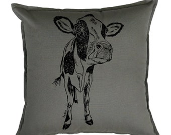 Couch Pillow Covers 20x20 - Animal Pillow - Cow Pillows - Farmhouse Pillows - Cushion Cover - Country Pillows  - Grey Pillows - Cow Gifts