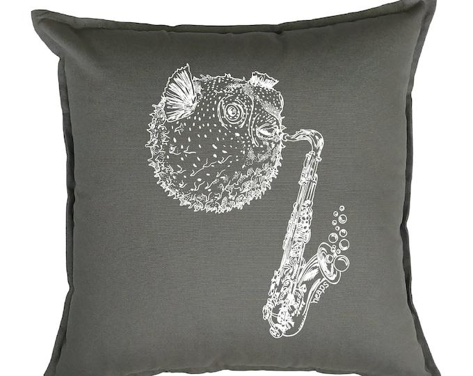 Throw Pillows 20x20 - Square Pillow Cover - Beach Pillows - Fish Pillows - Funny Decor - Funny Pillows - Saxophone Pillow - Grey Nautical