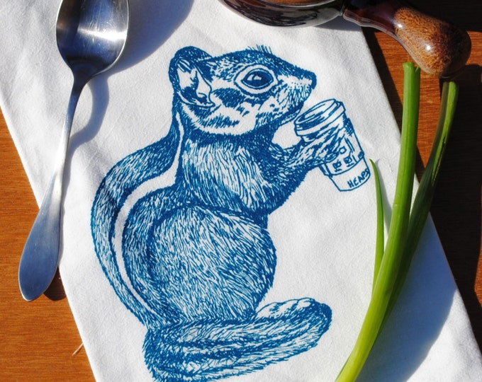 Tea Towel Teal Chipmunk Drinking Coffee - Flour Sack Cotton - Kitchen Towel Dish Towel Cup Towel Hand Towels