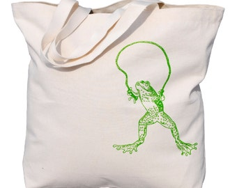 Large Canvas Beach Tote - Heavy Weight Screen Printed Cotton Bag - Washable - 10 Oz Canvas Tote Bag - Frog Skipping Rope