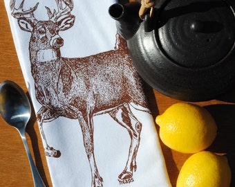 Set of 4 Dinner Napkins - Screen Printed Cotton Napkins - Chestnut Buck Deer Woodland Theme - Washable and Reusable - Unique Gift