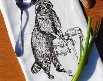 Kitchen Towel - Screen Printed Flour Sack Towel - House Warming Gift - Brown Raccoon Playing Congas -Woodland Animal Towel is a Unique Gift