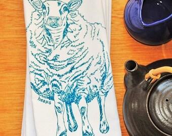 Cotton Napkins - Screen Printed Cotton Cloth Napkins -  Blue Sheep Cloth Dinner Napkins- Washable and Reusable Eco Friendly