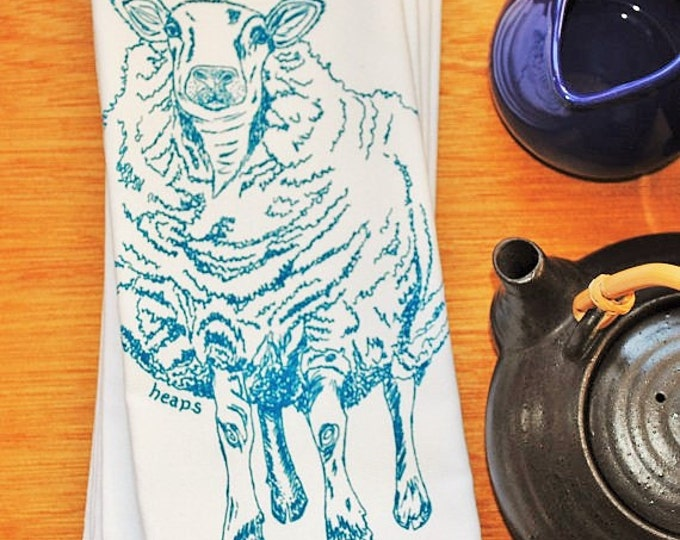 Cotton Napkins - Screen Printed Cotton Cloth Napkins -  Blue Sheep Cloth Dinner Napkins- Washable and Reusable Eco Friendly