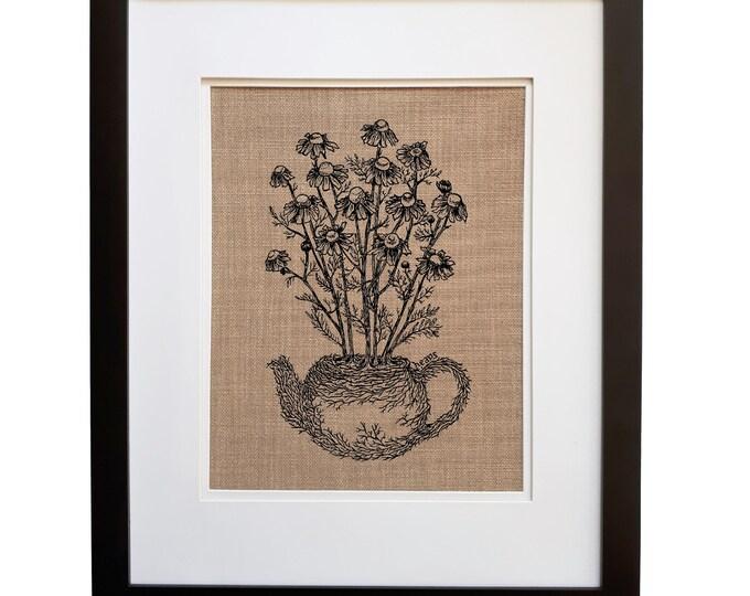 Tea Art Print - Unframed - Kitchen Wall Art- Tea Lover Gift - Tea Pot - Flowers Art - Funny Wall Art - Hallway Art - Gifts for Tea Drinker