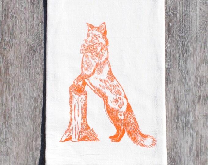 Orange Fox Tea Towel - Screen Printed Flour Sack Towel - Eco Friendly - Our Fox Kitchen Towel Makes a Perfect Gift for Birthdays, Weddings