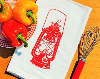 Red Oil Lantern Tea Towel - Hand Screen Printed - 100% Cotton Absorbant Towel for Dishes - Rustic Kitchen Towels - Country Cottage Linens