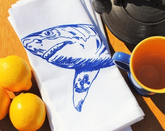 Nautical Dinner Napkins - Shark Napkins - Fabric Napkins - Printed Cotton Cloth Napkins - Shark Print - Wedding Gifts for Couple Shark Week