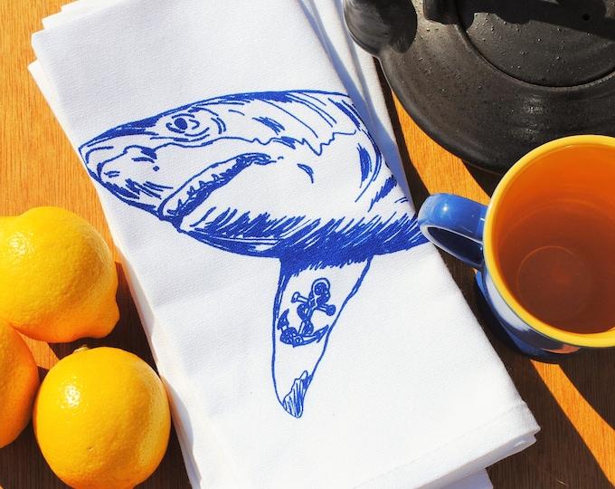 Nautical Dinner Napkins - Shark Napkins - Fabric Napkins - Printed Cotton Cloth Napkins - Shark Print - Wedding Gifts for Couple Shark Week