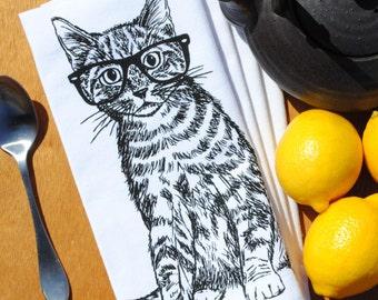Set of 4 Cloth Napkins - Cat Napkins - Cotton Dinner Napkins - Cat Decor - Cat Prints - Black Ink Print - Unique Wedding Gift Idea