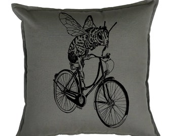Throw Pillows 20x20 - Square Pillow Cover - Funny Home Decor - Funny Couch Pillows - Pillow Slip Covers - Couch Pillow - Bee Pillow - Grey