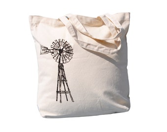 Large Tote Bags for Women - Screen Printed Cotton Bag - Unique Beach Bag Totes - Vintage Windmill Handbag- Unique Wedding Shower Gift