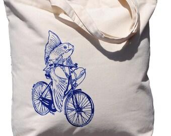 Fish on a Bike Cotton Tote Bag - Bridesmaid Totes - Nautical Wedding Gift - Nautical Wedding - Beach Wedding - Canvas Tote - Beach Bag