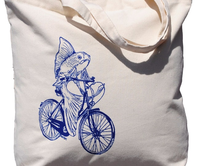 Fish on a Bike Cotton Tote Bag - Bridesmaid Totes - Nautical Wedding Gift - Nautical Wedding - Beach Wedding - Canvas Tote - Beach Bag