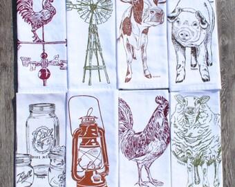 Barnyard Cotton Napkins - Screen Printed Napkin Set of 8 - Washable Reusable - Farmhouse Napkins - Country Linens - Farm Equipment