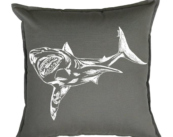 Throw Pillows 20x20 - Great White Shark Pillows - Beach Pillows - Summer Pillows - Nautical Decor - Funny Pillows - Nautical Pillows