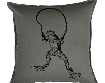 Pillow Covers 20 x 20 - Living Room Pillows - Animal Pillows - Couch Pillow Case - Sofa Pillows Case- Decorative Pillow - Funny Pillows Frog