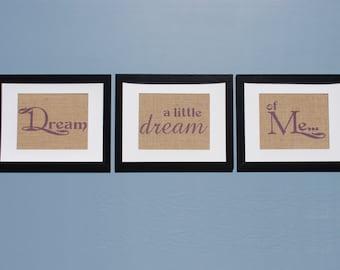 Dusk Purple Word Art Prints | Wall Sayings Prints | Burlap Wall Art Hanging Set | Purple Living Room Word Art | Dream a Little Dream of Me